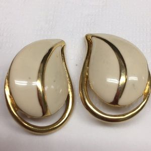 Trifari cream enamel leaf clip earrings